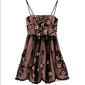 Red Valentino Black Pink Lace Tulle Mini Dress